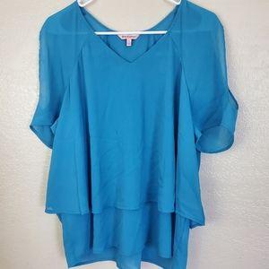 Juicy Couture Blue Cold Shoulder Chiffon Blouse